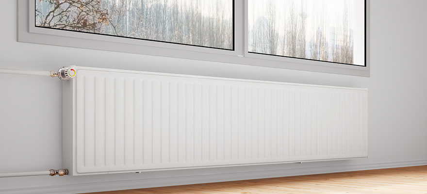 Central heating attachted to wall