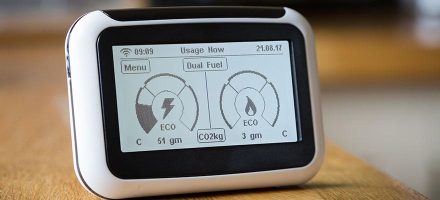 Smart Meter Showing Carbon Emissions